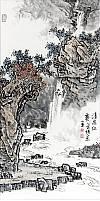 张正忠峰岭山水画  清泉红叶